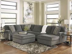 SOLE-OVERSIZED MODERN GRAY FABRIC SOFA COUCH SECTIONAL SET LIVING ROOM FURNITURE in Home & Garden | eBay