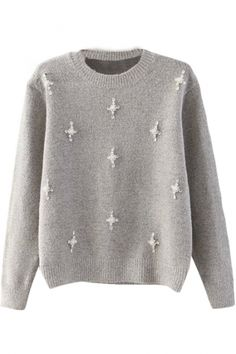 Cross Pearl&Beadings Embellished Sweater with Round Neck