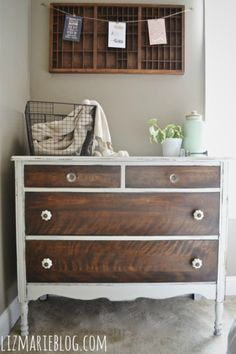 """Pinned for the color of the drawers. She """"... simply stained the drawers with Minwax special walnut just to give the drawers a vibrant finish & to seal the drawers."""": How To Strip Painted Furniture"""