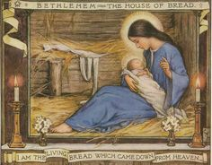 Iconic imagery of the baby Jesus & his mother, Mary.