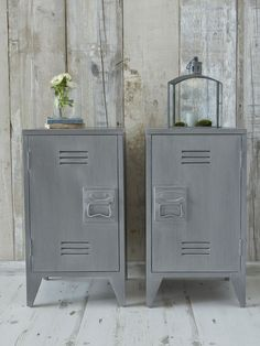 Industrial chic for the bedroom! These stylish grey wooden bedside cabinets are reminiscent of old school lockers.