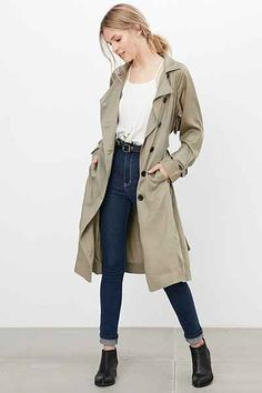 Silence + Noise Lauren Duster Trench Coat - Urban Outfitters