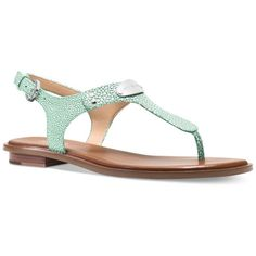 Michael Michael Kors Mk Plate Thong Sandals ($110) ❤ liked on Polyvore featuring shoes, sandals, celadon, michael kors footwear, flat thong sandals, toe thongs, thong sandals and toe post sandals