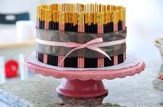 Pocky Chocolate Mousse Cake: A fun cake decorating idea for your next birthday party.
