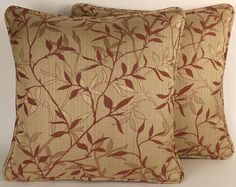 "Decorative Throw Pillows, Rust Leaf Throw Pillows, 2 18""  Rust Tan Vining Leaf Designer Throw Pillows with Forms,Living room,Accent Pillow"
