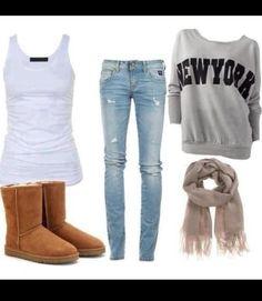 Hoodless sweatshirt, skinnies, uggs and a scarf. Favorite things to wear