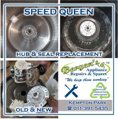 Speed Queen was collected from our customer who complained of noise and a leak. After the problem was diagnosed, a new hub and seal was replaced, and the inner and outer drums were chemically cleaned. The washing machine was returned to a very happy customer. #speedqueen #washingmachine #toploader #laundryday #wefixappliances #hub&seal #washingday #bergensappliancerepairs #appliancerepair #appliancetechnician #quote #southafrica Bergen, Kempton Park, Domestic Appliances, Appliance Repair, Home Automation, Branches, Washing Machine, Drums, Seal