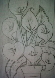 Flores Pencil Art Drawings, Art Drawings Sketches, Easy Drawings, Coloring Books, Coloring Pages, Colouring, Flower Sketches, Fabric Painting, Glass Painting Patterns