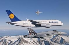 Swiss Air Force and Lufthansa A380