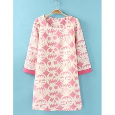 """Long Sleeve Human Heads Print Chiffon Simple Design Scoop Neck Women's Dress, PINK, L in Dresses 2014   DressLily.com I love this site's descriptions!!! I'm pretty sure they're auto-translated, and some of the meanings are, shall we say, a bit loose (though who doesn't want a dress covered with """"human,"""" heads, or to simply have a head that looks like one of these, for example?). But they never lack for pizzazz."""