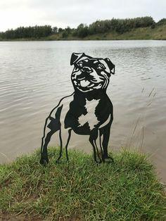 Staffordshire Bull Terrier Staffy Metal Dog Garden Art Dog Garden, Garden Art, Mountain Dogs, Bernese Mountain, Pitbull Terrier, Bull Terriers, Pit Dog, Shih Poo, Blue Pits
