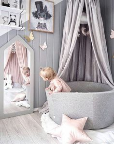 Love the creativity of this kids room. Mirror and the cozy corner are a must for the children!