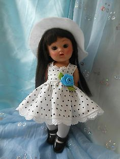 Pin dot, clothes,dress, slouch hat, fits Ginny, all 7 to 8 in. dolls.
