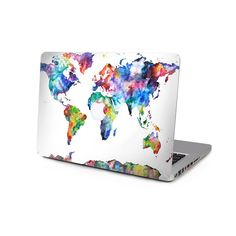 Watercolor Map Apple Macbook Pro Air by creativedecaldesigns