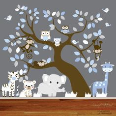 Baby Vinyl Wall Decal Nursery Jungle Wall Decal Sticker Tree and Branch with Elephant,zebra,giraffe,tiger,owls and birds