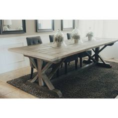 Made to Order 108 Inch X Style Farmhouse Trestle Table ($795) ❤ liked on Polyvore featuring home, furniture, tables, dining tables, dining room furniture, grey, home & living, kitchen & dining tables, gray table and handcrafted furniture