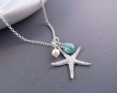 Starfish Necklace, Silver Sea Star with Pearl and Turquoise Dangle, Pendant Necklace, Beach Wedding, Bridesmaids Gift, Modern Jewelry #redparrottravelandhoneymoons #redparrotdestinationweddings