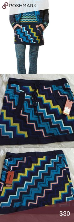 Missoni for target Skirt!NWT Missoni for Target sweater skirt! New with tags! Pockets in the front and drawstring waist! Rare piece that is new with tags! Missoni Skirts Mini