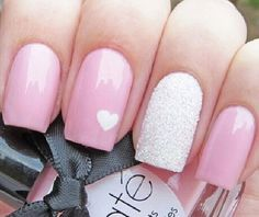Pink and White Glitter with White Heart Nail Art Design
