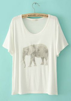 White Elephant Print Collarless Short Sleeve Cotton T-Shirt