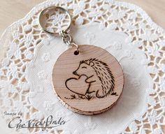 Wooden Charms wine charm  Hedgehog Wooden by Oneviewfinder on Etsy, $10.00