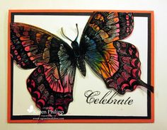 """By Karen Philipp. The butterfly (Stampin' Up Swallowtail) is stamped with Versamark on Vellum card stock, then embossed with black embossing powder.  Next it's spritzed with water.  Taking an aqua painter and reinkers, the cardstock is """"touched"""" with the aqua painter and the color just spreads.  The reinker colors are real red, pumpkin pie, and pacific point."""