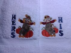Machine Embroidered His and Hers Towel Set with Autumn Scarecrow by StitchnJEmbroidery on Etsy