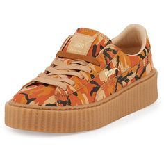 FENTY PUMA by Rihanna Camouflage-Print Suede Platform Creeper (€140) ❤ liked on Polyvore featuring shoes, sneakers, puma, orange, camouflage sneakers, suede shoes, creeper sneakers, puma trainers and low heel shoes
