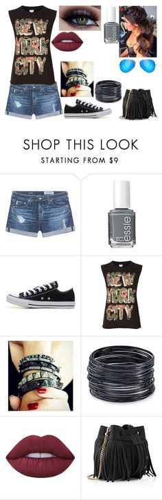 """""""Untitled #471"""" by nerdynerdy ❤ liked on Polyvore featuring AG Adriano Goldschmied, Essie, Converse, Denim & Supply by Ralph Lauren, Plukka, ABS by Allen Schwartz, Lime Crime, Whistles and Ray-Ban"""