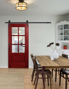"6'8"" single 6 Lite rolling door in the TDL BarnCraft Collection. Shown with Clear glass and Slade BarnCraft rolling hardware. Shown with Traditional Cinnamon Red stain option. http://www.doornmore.com/interior-doors/interior-door-configuration/barn-doors.html?utm_content=bufferff2b6&utm_medium=social&utm_source=pinterest.com&utm_campaign=buffer"