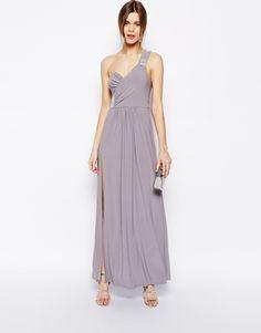 758dab627705 ASOS - Maxi robe avec ornements à l épaule et sur le côté Ornements,