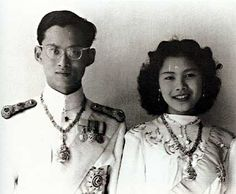 Thailand's King Bhumibol Adulyadej and Queen Sirikit on their wedding day