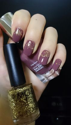 "#Sally Hansen complete salon manicure #Plum's the word (280) + MODI Glam Nails #27 (""Gold Sequin"")"