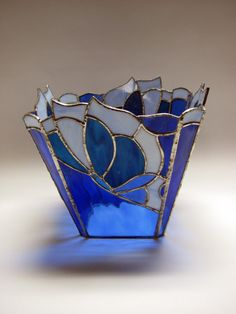 Stained glass butterfly vase, $100