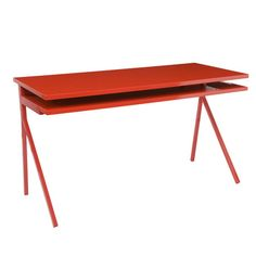 Add a modern touch to your home office or living room with this sleek writing desk, showcasing a glossy red finish and extendable keyboard tray.