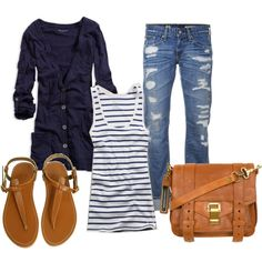 casual jeans with cardigan.