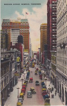 Madison Avenue Memphis, Tennesee, used vintage linen postcard with personal message, cancelled one cent stamp - pinned by pin4etsy.com