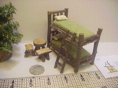 Half Inch Scale Bunkbeds 9 Piece Set Rustic Miniature Furniture Table Ladder…