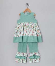 Take a look at this Green Gingham Tree Ruffle Top & Pants - Infant, Toddler & Girls by Sew Childish on #zulily today!