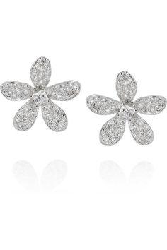 Broqueles de diamantes.Aretes en forma de flor de Kenneth Jay Lane