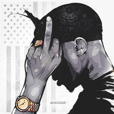 Tupac Shakur artwork by shkelqimart Arte Do Hip Hop, Hip Hop Art, Arte Dope, Dope Art, 2pac Wallpaper, Tupac Art, Trill Art, Tupac Pictures, Art Et Design