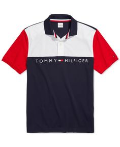 Tommy Hilfiger Adaptive Men's Turner Classic-Fit Colorblocked Logo Polo Shirt with Magnetic Buttons - Bright White/Multi Polo Shirt Style, Polo Shirt Outfits, Mens Polo T Shirts, Boys Shirts, Tommy Hilfiger Outfit, Tommy Hilfiger Polo Shirts, Camisa Polo, Tommy Clothes, Lacoste