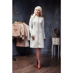 Woman Wool Winter Coat Wedding White Collarless Wool Coat C-4 Winter... (660 CAD) ❤ liked on Polyvore featuring outerwear, coats, black, women's clothing, collarless coat, white woolen coat, collarless wool coat, black coat and white wool coat