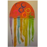 crepe paper jelly fish craft for preschool ocean theme
