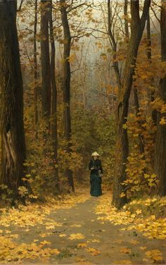 Vasili Dimitrievich Polenov (1844 - 1927): Woman Walking on A Forest Trail