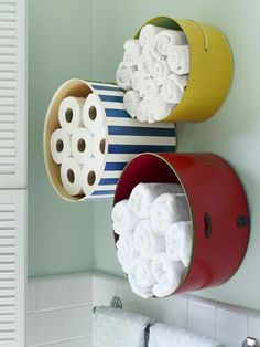 Old hat bins as storage in a bathrom.. love!