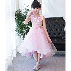 Pink Lace Beaded High Low Glitz Pageant Girls Special Occasion Dress SKU-10501430