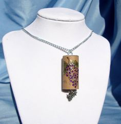 Embellished Wine Cork Crystal Grapes Pendant Necklace OOAK. $22.00, via Etsy.