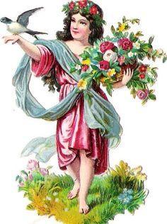 Oblaten Glanzbild scrap die cut  chromo  Blumen Elfe Taube dove elf