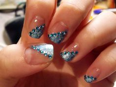 rhinestone nails | 18 Photos of the How to Use Rhinestone Nail Designs